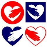 Порция руки в иллюстрации вектора сердца установленной Стоковая Фотография RF