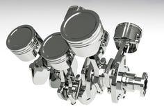 Поршени и cog двигателя на белой предпосылке 3d представляют иллюстрация штока