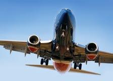 посадка авиалайнера Стоковые Фото