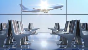 Посадка самолета пассажира как увидено через окна залы отклонения видеоматериал