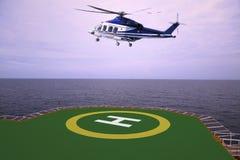 Посадка автостоянки вертолета на оффшорном экипаже платформы, перехода вертолета или пассажире к работе в оффшорной нефтяной пром Стоковое Фото