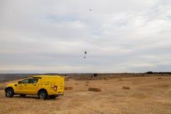Посадка вертолета пожарного защиты гражданского населения Spainsh BELL-212 Стоковое фото RF