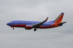 Посадка самолета (авиакомпании SothWest) Стоковые Фото