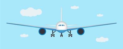 Посадка самолета Вид спереди также вектор иллюстрации притяжки corel Стоковая Фотография RF
