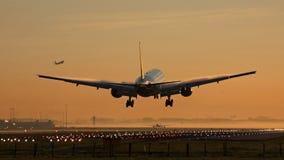 Посадка самолета Стоковое Фото