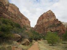 Посадка ` s Анджела, долина каньона, национальный парк Сиона, Юта Стоковая Фотография RF