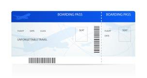 Посадочный талон (билет) с самолетом (самолет) Стоковое Изображение