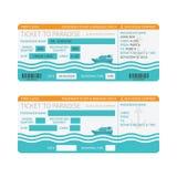 Посадочный талон туристического судна моря или шаблон билета бесплатная иллюстрация