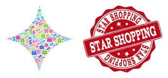 Посветите коллажу звезды мозаики и текстурированной печати для продаж иллюстрация вектора