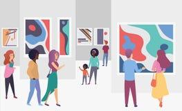 Посетители галереи выставки осматривая ультрамодные абстрактные изображения картин в иллюстрации вектора картинной галлереи совре бесплатная иллюстрация