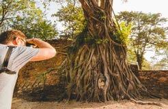 Посетители принимают фото деревьев с старым Buddhas стоковые фотографии rf