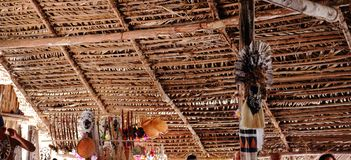Посещая индигенное племя в Amazonas, Бразилии Они показывают их культуру, танцы, еду, искусства и привычки стоковые фото