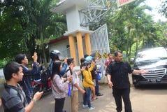 Посещение Дэвида Бекхэма город Semarang стоковые изображения