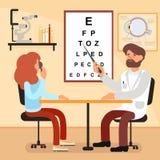 Посещение иллюстрации вектора к офтальмологу бесплатная иллюстрация