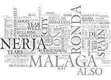 Посещение к Ronda Малаге и облаку слова Nerja Испании иллюстрация вектора