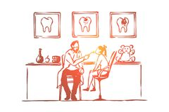 Посещение, маленькая девочка сидя на стуле, зубы рассмотрение, доктор и пациент дантиста, зубоврачевание иллюстрация вектора