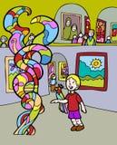 посещение музея малыша приключений иллюстрация вектора