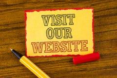 Посещение показа примечания сочинительства наш вебсайт Связь интернет-страницы вахты приглашения фото дела showcasing к writte ин Стоковые Фото