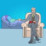 Посещение психотерапии искусства шипучки с старшим Psychotherapist бесплатная иллюстрация