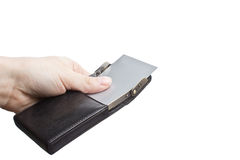 посещение руки карточки коробки стоковое изображение rf