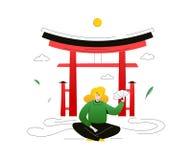 Посещение Япония - красочная плоская иллюстрация стиля дизайна иллюстрация штока