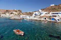 Поселение рыбной ловли Goupa, остров Kimolos, Киклады, Греция Стоковые Фото