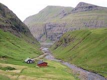 Поселение Фарерских Островов Saksun Стоковое Изображение