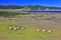 Поселения Yurt, озеро Terkhiin Tsagaan, центральная Монголия Стоковое фото RF
