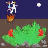 Поскачите через огонь и зацветая папоротник Иллюстрация штока
