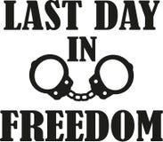 Последний день в свободе - мальчишник с рукой cuffs бесплатная иллюстрация