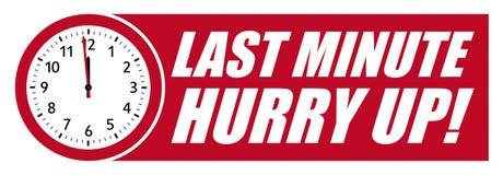 Последняя минута спешит вверх! Красные часы вектора со знаменем иллюстрация штока