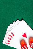 Последовательность карточки королевского притока с dices стоковое фото rf