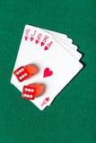 Последовательность карточки покера королевского притока с dices Стоковые Изображения RF