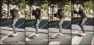 Последовательность скачки улицы люка -лаза skateboarding Ska школы бесплатного проезда Стоковые Фотографии RF