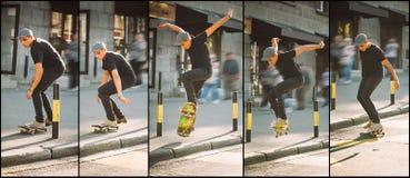 Последовательность скачки улицы обочины и обочины скейтборда Scho Freeride Стоковые Изображения RF