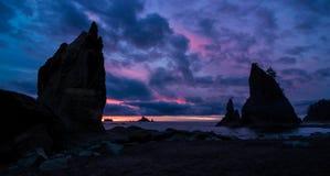 После заходящего солнца, пляж Rialto, штат Вашингтон стоковые фотографии rf