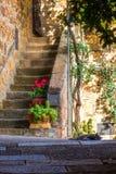 После полудня Тосканы лета сцены Monticchiello стоковое изображение rf