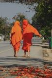 Послушники идут на улицу стоковое фото rf