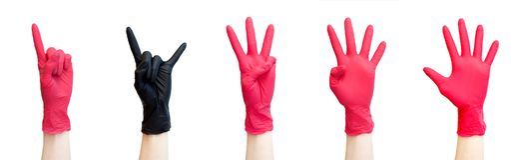 посмотренная различная коллажа одной белизне Знак утеса сделанный от черных медицинских перчаток На белизне Уникально, первоначал стоковые изображения rf