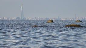 Посмотрите в центре Lakhta через Gulf of Finland во дне лета солнечном сток-видео