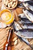 Посоленные рыбы и пиво Стоковые Фото