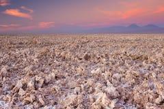 Посолите плоского Салара de Atacama, пустыни Atacama, Чили на заходе солнца Стоковые Фото