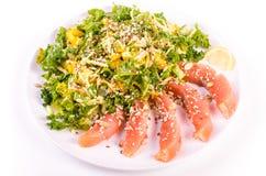 Посолите семг с свежим салатом в плите фарфора Стоковые Изображения RF
