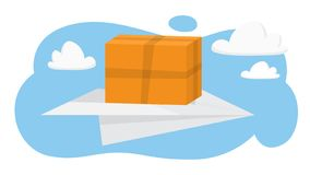 поставка принципиальной схемы голодает Летание контейнера коробки иллюстрация вектора