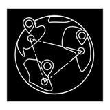 Поставка снабжения глобальная, значок глобуса, иллюстрация вектора, знак на изолированной предпосылке иллюстрация штока