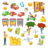 Поставка шаржа и комплект снабжения Vector иллюстрация транспорта, логистического дизайна характера технологии Стоковая Фотография