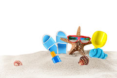 Поставки морской звезды и пляжа вспомогательные Стоковое Изображение