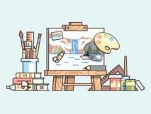 Поставки мольберта и картины Стоковое Изображение RF