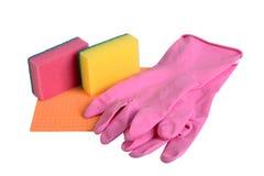 поставкы губок ткани чистки предпосылки новые померанцовые Стоковые Изображения