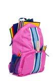 поставкы школы backpack розовые Стоковые Изображения RF